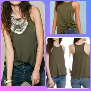 Free People racer back ribbed olive muscle tee